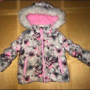 Osh Kosh Floral Patterned Puffer Hooded Coat